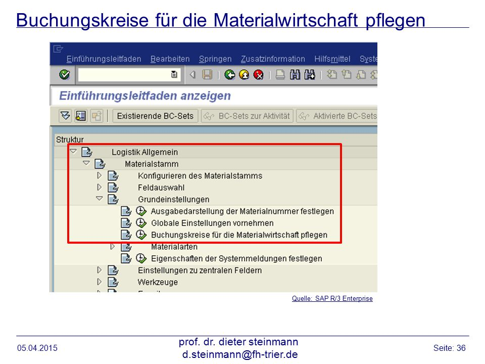 Buchungskreise für die Materialwirtschaft pflegen 05.04.2015 prof. dr. dieter steinmann d.steinmann@fh-trier.de Seite: 36 Quelle: SAP R/3 Enterprise