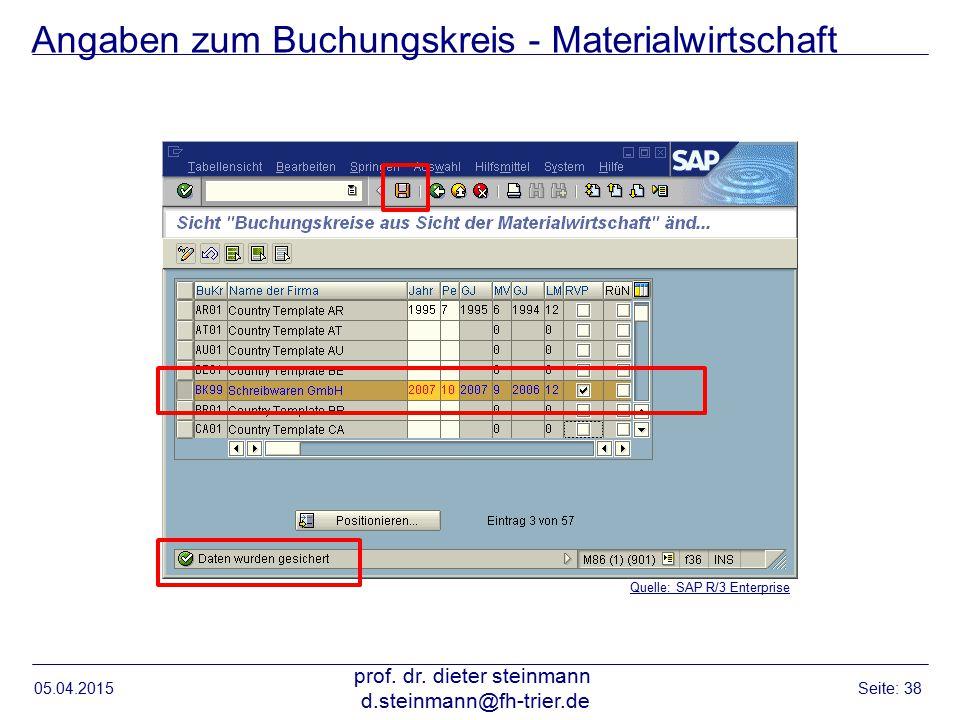 Angaben zum Buchungskreis - Materialwirtschaft 05.04.2015 prof. dr. dieter steinmann d.steinmann@fh-trier.de Seite: 38 Quelle: SAP R/3 Enterprise