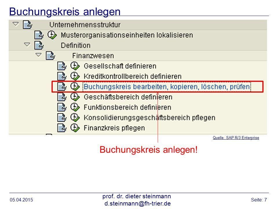 Buchungskreis anlegen 05.04.2015 prof. dr. dieter steinmann d.steinmann@fh-trier.de Seite: 7 Quelle: SAP R/3 Enterprise Buchungskreis anlegen!