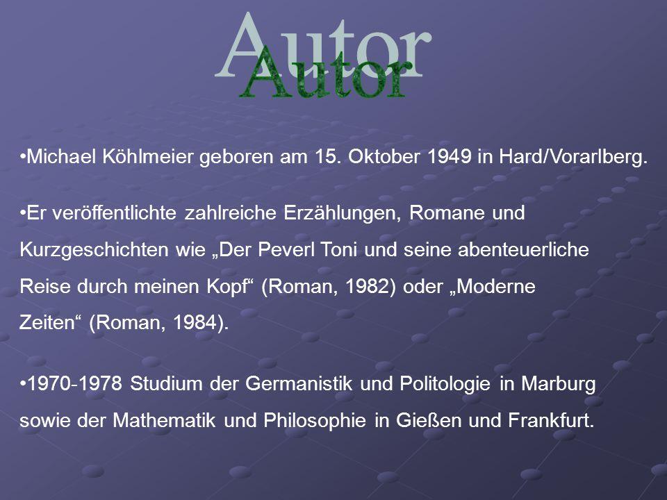 """Michael Köhlmeier geboren am 15. Oktober 1949 in Hard/Vorarlberg. Er veröffentlichte zahlreiche Erzählungen, Romane und Kurzgeschichten wie """"Der Pever"""