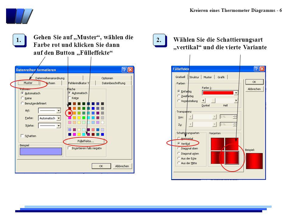 """Kreieren eines Thermometer Diagramms - 6 Gehen Sie auf """"Muster , wählen die Farbe rot und klicken Sie dann auf den Button """"Fülleffekte Wählen Sie die Schattierungsart """"vertikal und die vierte Variante 1."""
