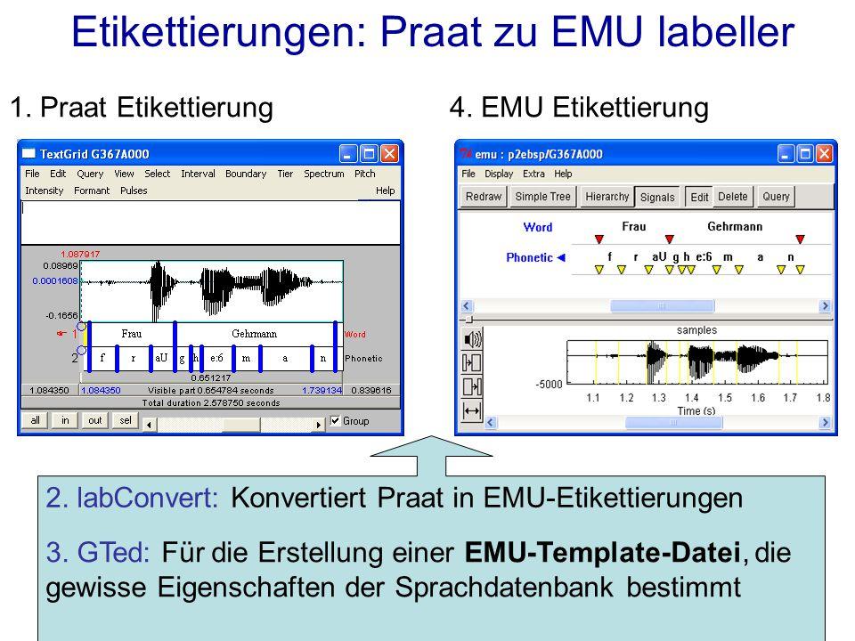 Etikettierungen: Praat zu EMU labeller 1. Praat Etikettierung4. EMU Etikettierung 2. labConvert: Konvertiert Praat in EMU-Etikettierungen 3. GTed: Für