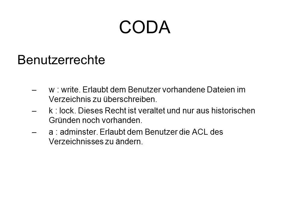 CODA Benutzerrechte –w : write.