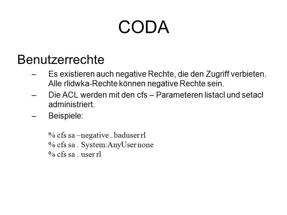 CODA Benutzerrechte –Es existieren auch negative Rechte, die den Zugriff verbieten.