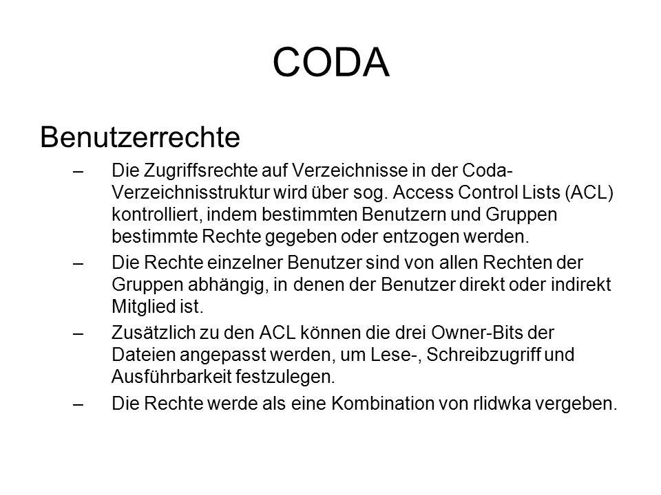 CODA Benutzerrechte –r : read.Erlaubt dem Benutzer, jede Datei im Verzeichnis zu lesen.