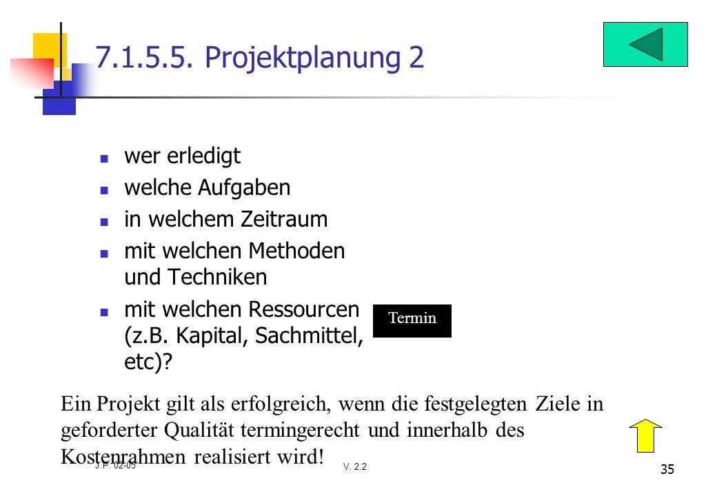 V. 2.2 J.P. 02-05 35 7.1.5.5. Projektplanung 2 wer erledigt welche Aufgaben in welchem Zeitraum mit welchen Methoden und Techniken mit welchen Ressour