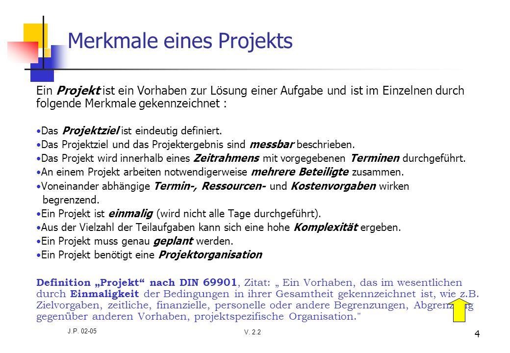 V. 2.2 J.P. 02-05 4 Merkmale eines Projekts Ein Projekt ist ein Vorhaben zur Lösung einer Aufgabe und ist im Einzelnen durch folgende Merkmale gekennz