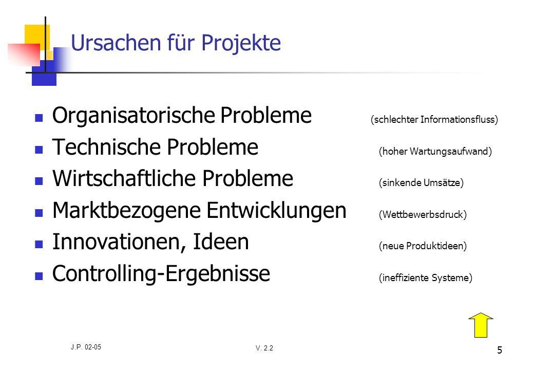 V. 2.2 J.P. 02-05 5 Ursachen für Projekte Organisatorische Probleme (schlechter Informationsfluss) Technische Probleme (hoher Wartungsaufwand) Wirtsch