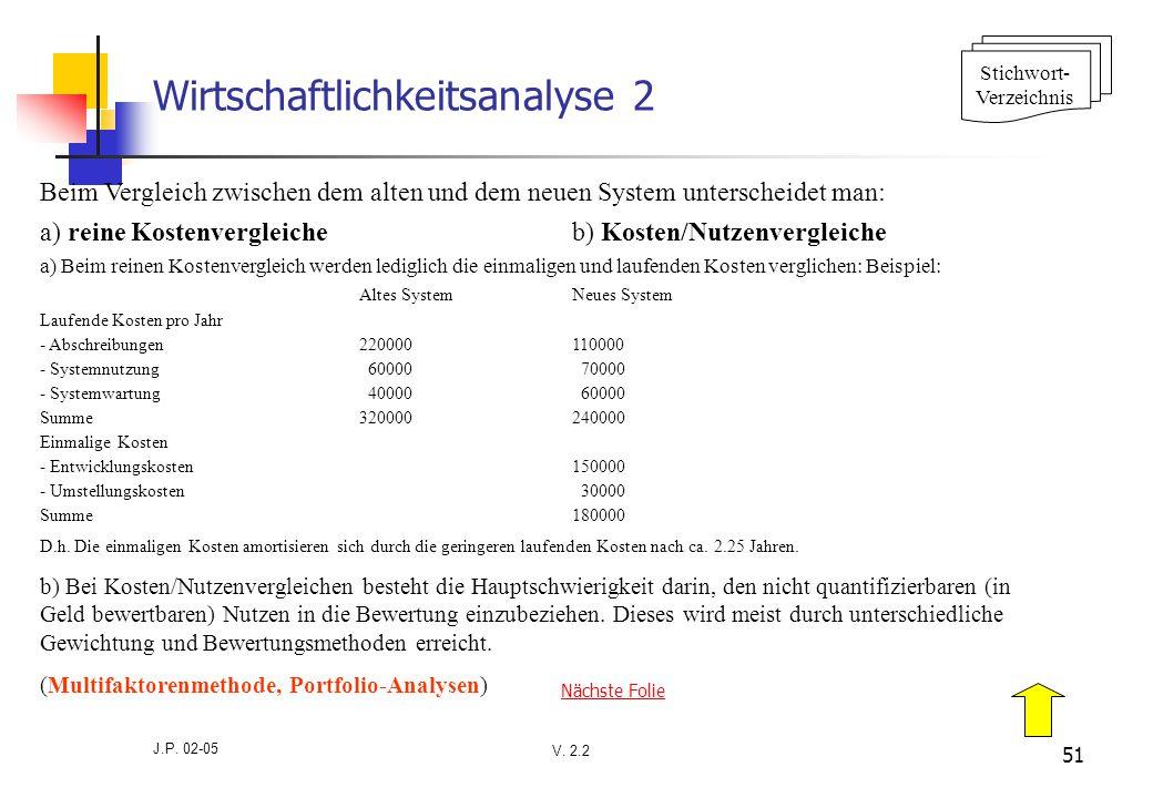 V. 2.2 J.P. 02-05 51 Wirtschaftlichkeitsanalyse 2 Beim Vergleich zwischen dem alten und dem neuen System unterscheidet man: a) reine Kostenvergleicheb