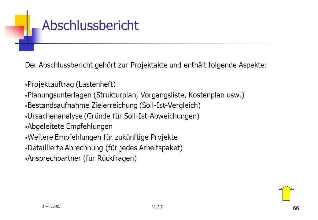 V. 2.2 J.P. 02-05 66 Abschlussbericht Der Abschlussbericht gehört zur Projektakte und enthält folgende Aspekte: Projektauftrag (Lastenheft) Planungsun