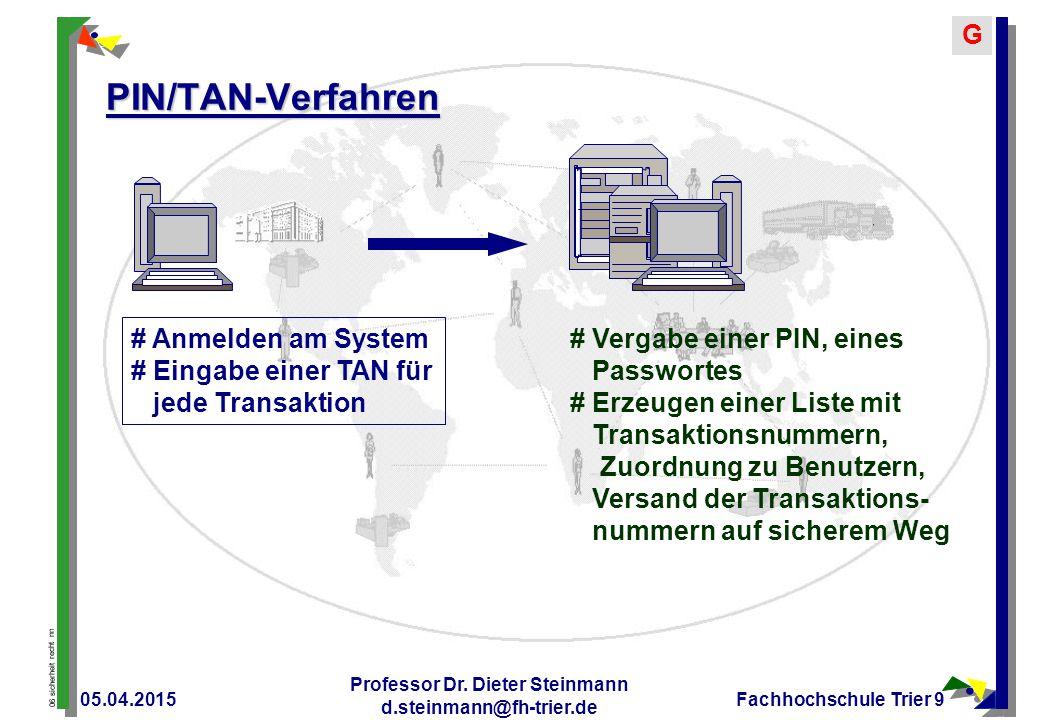 06 sicherheit recht nn GITan Wie TAN aber Indizierte TANs und Abfrage einer speziellen TAN zu einer speziellen Transaktion 05.04.2015 Professor Dr.