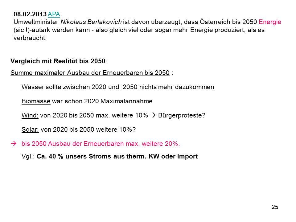 25 08.02.2013 APAAPA Umweltminister Nikolaus Berlakovich ist davon überzeugt, dass Österreich bis 2050 Energie (sic !)-autark werden kann - also gleic