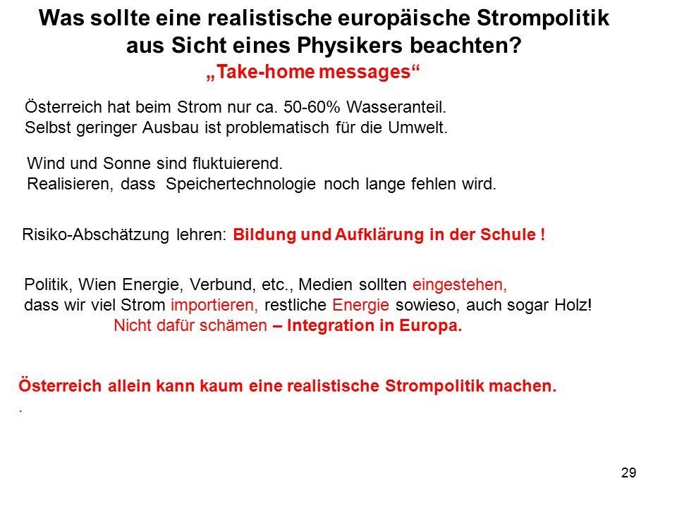 """29 """"Take-home messages"""" Österreich hat beim Strom nur ca. 50-60% Wasseranteil. Selbst geringer Ausbau ist problematisch für die Umwelt. Politik, Wien"""