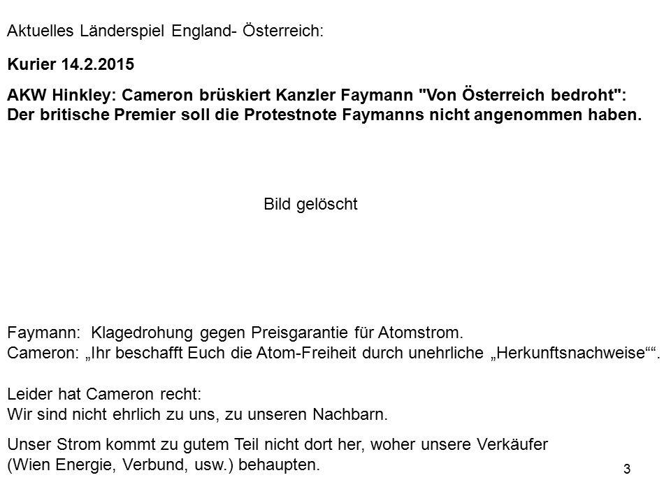 """3 Faymann: Klagedrohung gegen Preisgarantie für Atomstrom. Cameron: """"Ihr beschafft Euch die Atom-Freiheit durch unehrliche """"Herkunftsnachweise"""""""". Leid"""