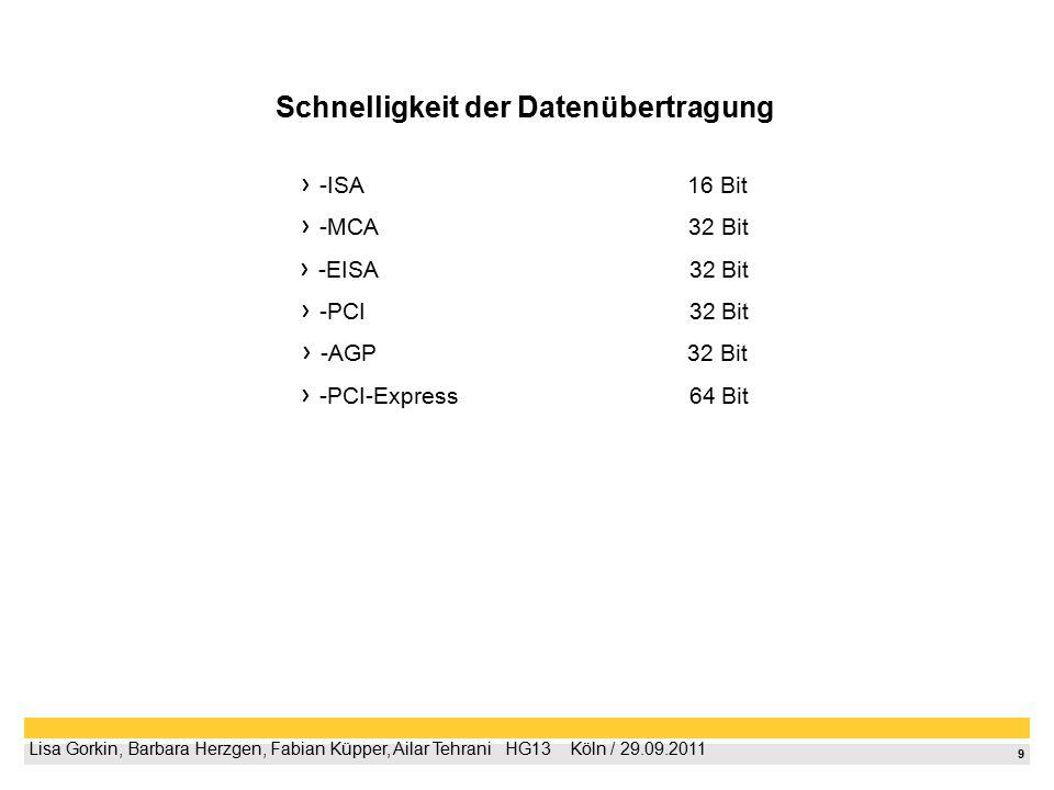 9 Lisa Gorkin, Barbara Herzgen, Fabian Küpper, Ailar Tehrani  HG13  Köln / 29.09.2011 Schnelligkeit der Datenübertragung -ISA 16 Bit -MCA 32 Bit -EISA 32 Bit -PCI 32 Bit -AGP 32 Bit -PCI-Express 64 Bit