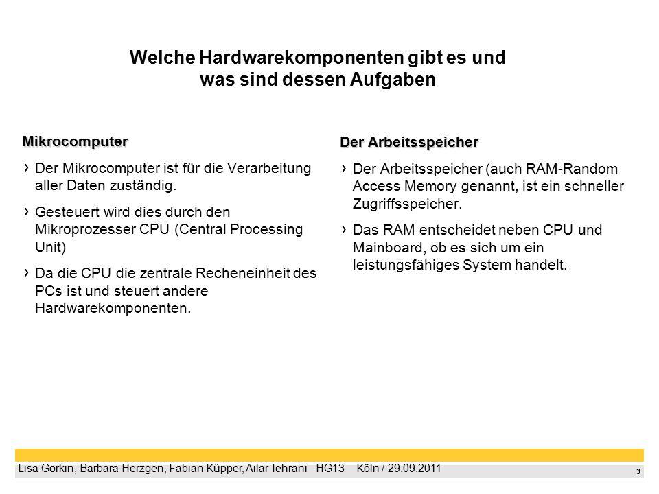 3 Lisa Gorkin, Barbara Herzgen, Fabian Küpper, Ailar Tehrani  HG13  Köln / 29.09.2011 Welche Hardwarekomponenten gibt es und was sind dessen Aufga