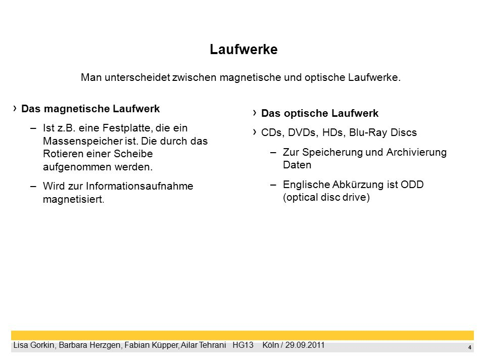 4 Lisa Gorkin, Barbara Herzgen, Fabian Küpper, Ailar Tehrani  HG13  Köln / 29.09.2011 Laufwerke Das magnetische Laufwerk –Ist z.B. eine Festplatte