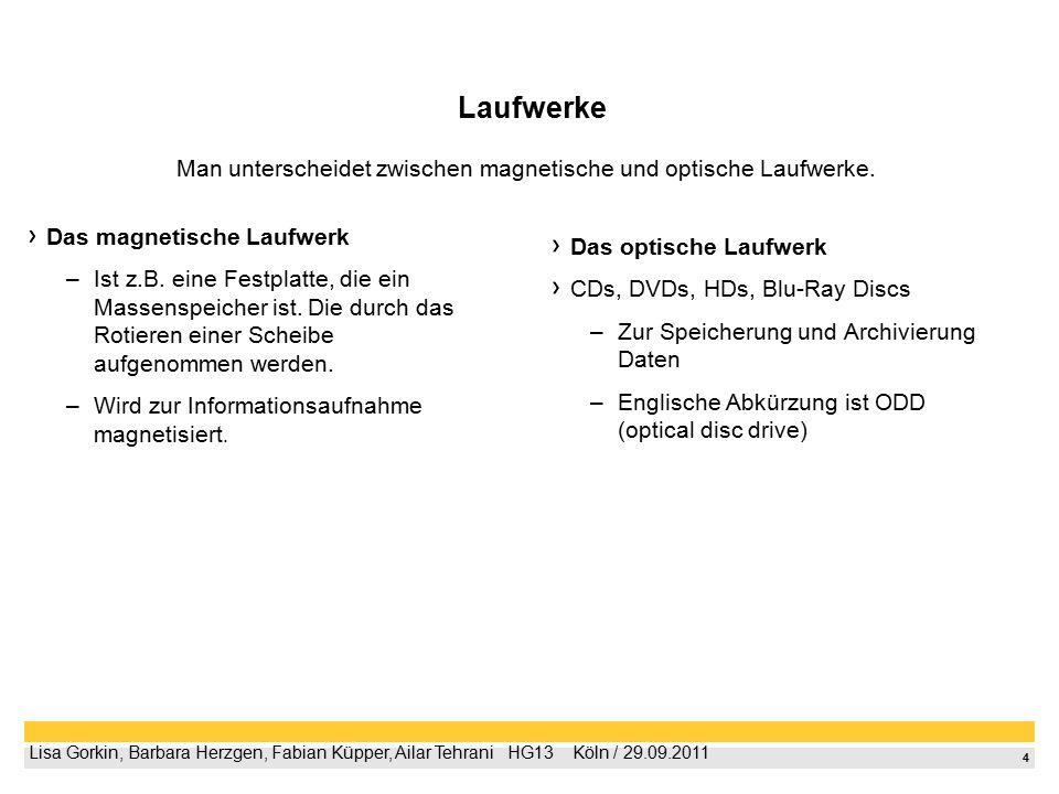 4 Lisa Gorkin, Barbara Herzgen, Fabian Küpper, Ailar Tehrani  HG13  Köln / 29.09.2011 Laufwerke Das magnetische Laufwerk –Ist z.B.