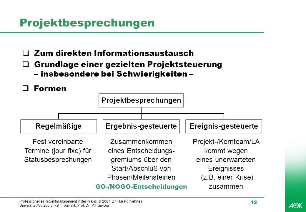 Professionelles Projektmanagement in der Praxis, © 2007 Dr. Harald Wehnes Universität Würzburg, FB Informatik, Prof. Dr. P.Tran-Gia 12 Projektbesprech
