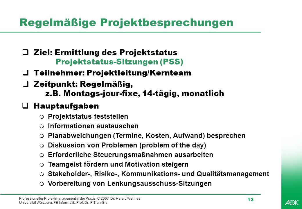 Professionelles Projektmanagement in der Praxis, © 2007 Dr. Harald Wehnes Universität Würzburg, FB Informatik, Prof. Dr. P.Tran-Gia 13 Regelmäßige Pro
