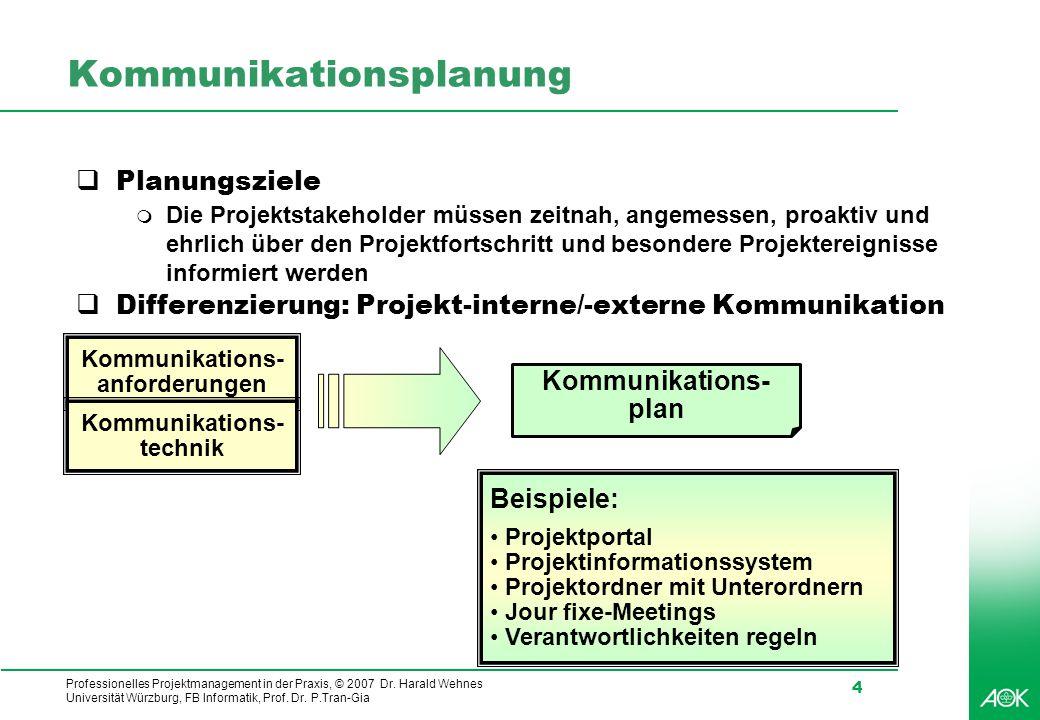 Professionelles Projektmanagement in der Praxis, © 2007 Dr. Harald Wehnes Universität Würzburg, FB Informatik, Prof. Dr. P.Tran-Gia 4 Kommunikationspl