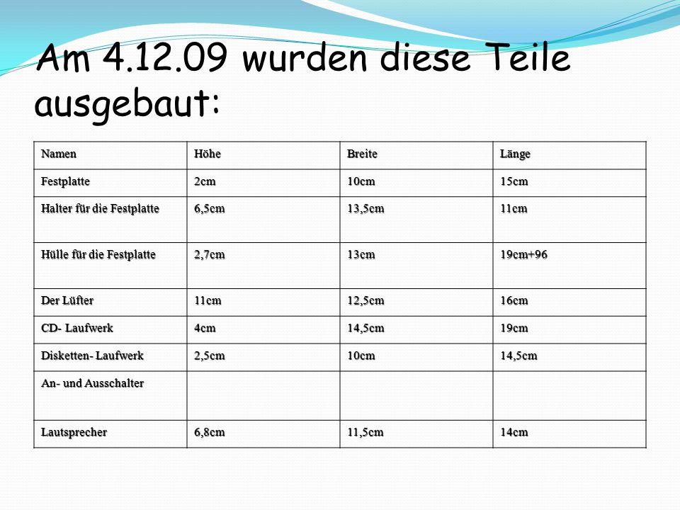 NamenHöheBreiteLänge Festplatte2cm10cm15cm Halter für die Festplatte 6,5cm13,5cm11cm Hülle für die Festplatte 2,7cm13cm19cm+96 Der Lüfter 11cm12,5cm16