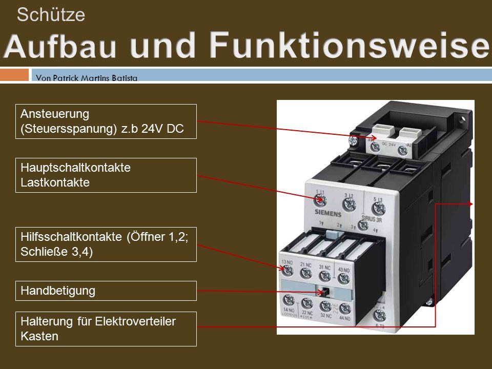 Schütze Ansteuerung (Steuersspanung) z.b 24V DC Hauptschaltkontakte Lastkontakte Hilfsschaltkontakte (Öffner 1,2; Schließe 3,4) Handbetigung Halterung