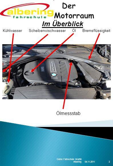 04.11.2011 Deine Fahrschule Martin Albering2 Kühlwasser Scheibenwischwasser Öl Bremsflüssigkeit Im Überblick Ölmessstab