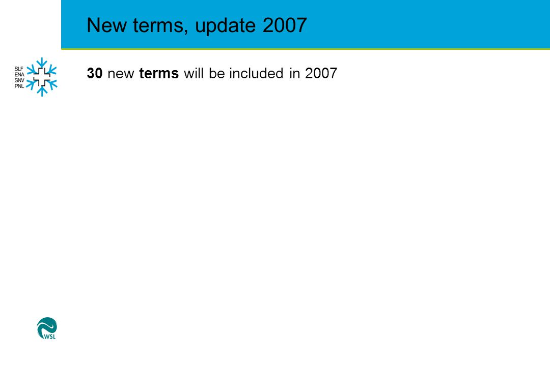 New terms, update 2007 30 new terms will be included in 2007