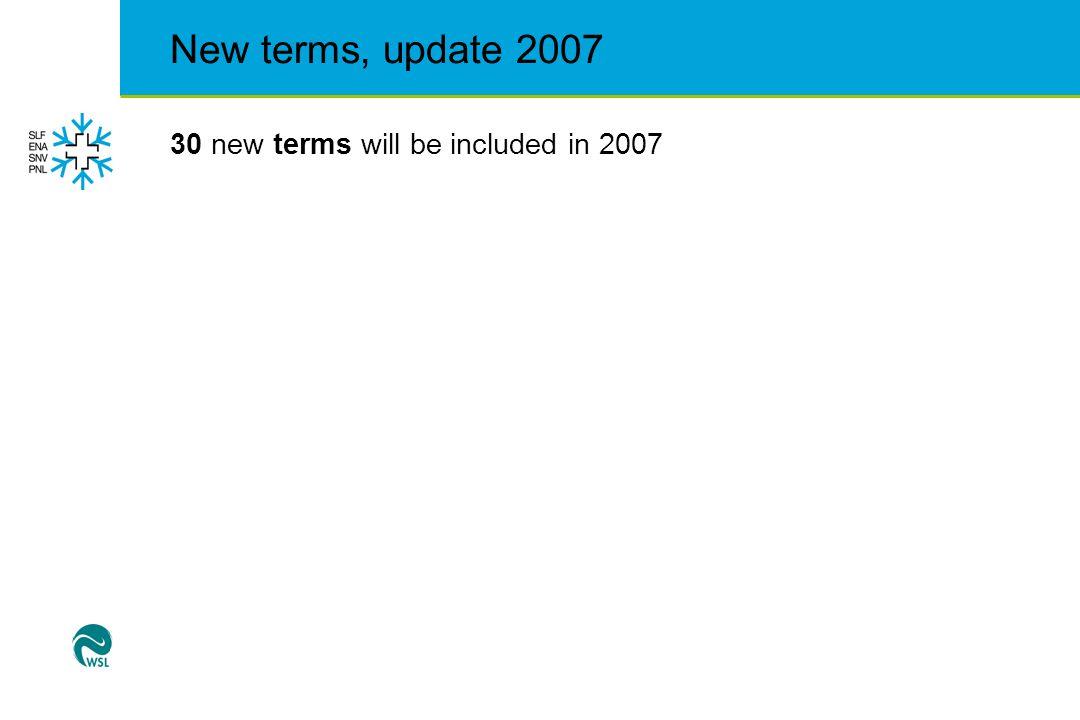 New terms, update 2007  Albedo (albedo)  Becherkristalle, Tiefenreif (depth hoar)  Büsserschnee (penitent snow)