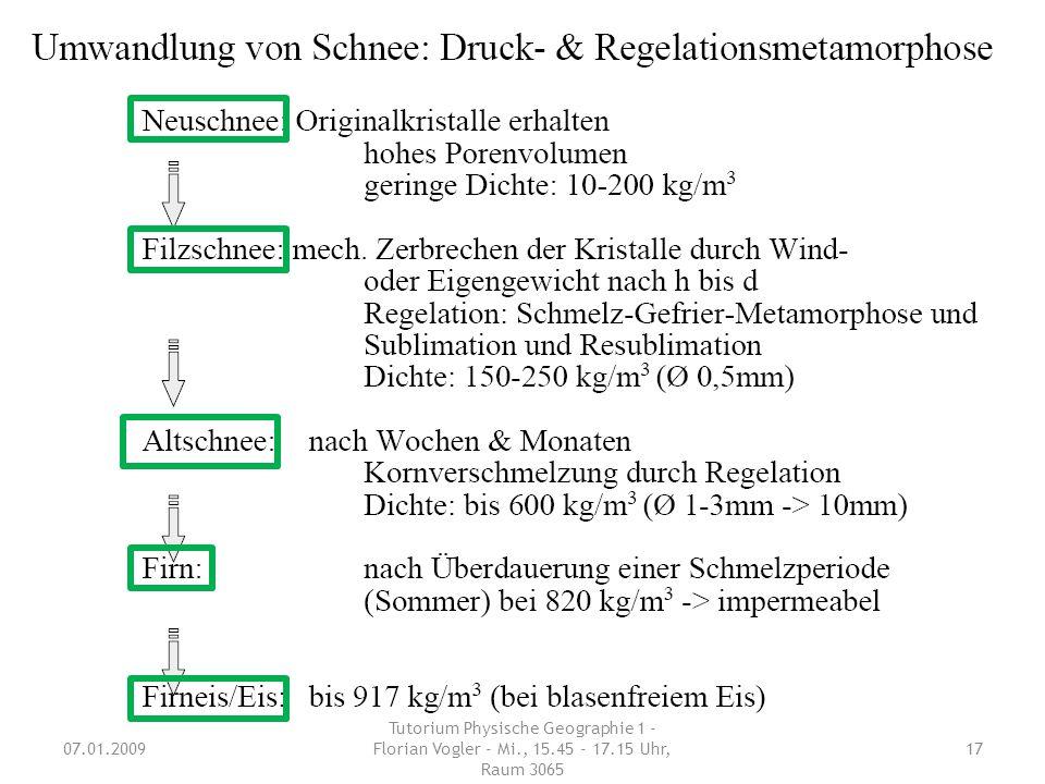 Schnee/Gletscher Wie läuft die Schneemetamorphose ab? (Klausurfrage Nach-Klausur WS 04/05 – 2 Pkt.) 07.01.2009 Tutorium Physische Geographie 1 - Flori