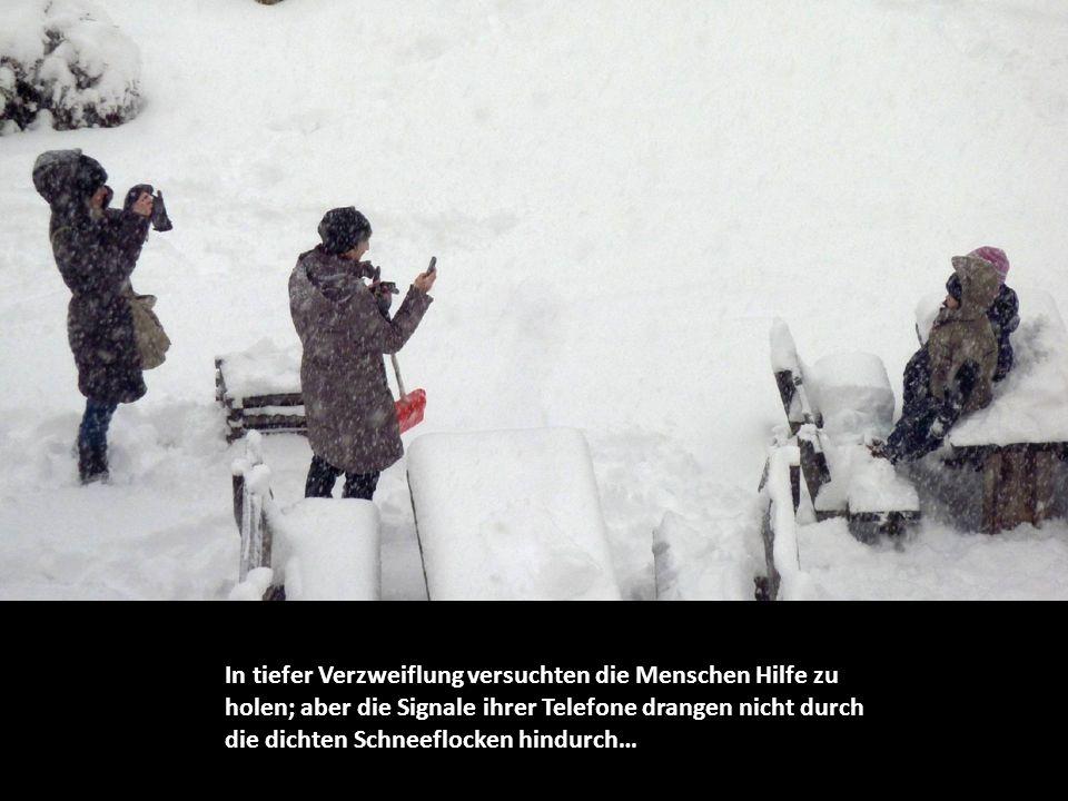 In tiefer Verzweiflung versuchten die Menschen Hilfe zu holen; aber die Signale ihrer Telefone drangen nicht durch die dichten Schneeflocken hindurch…