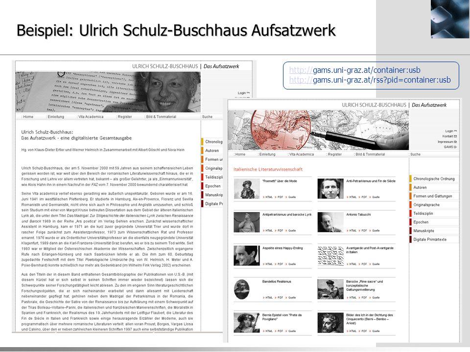 Beispiel: Ulrich Schulz-Buschhaus Aufsatzwerk http://http://gams.uni-graz.at/container:usb http://gams.uni-graz.at/rss pid=container:usb http://