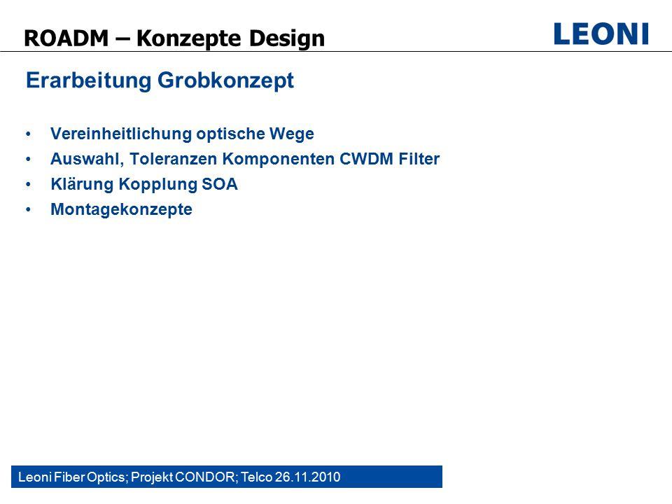 Leoni Fiber Optics; Projekt CONDOR; Telco 26.11.2010 ROADM – Konzepte Design Erarbeitung Grobkonzept Vereinheitlichung optische Wege Auswahl, Toleranzen Komponenten CWDM Filter Klärung Kopplung SOA Montagekonzepte