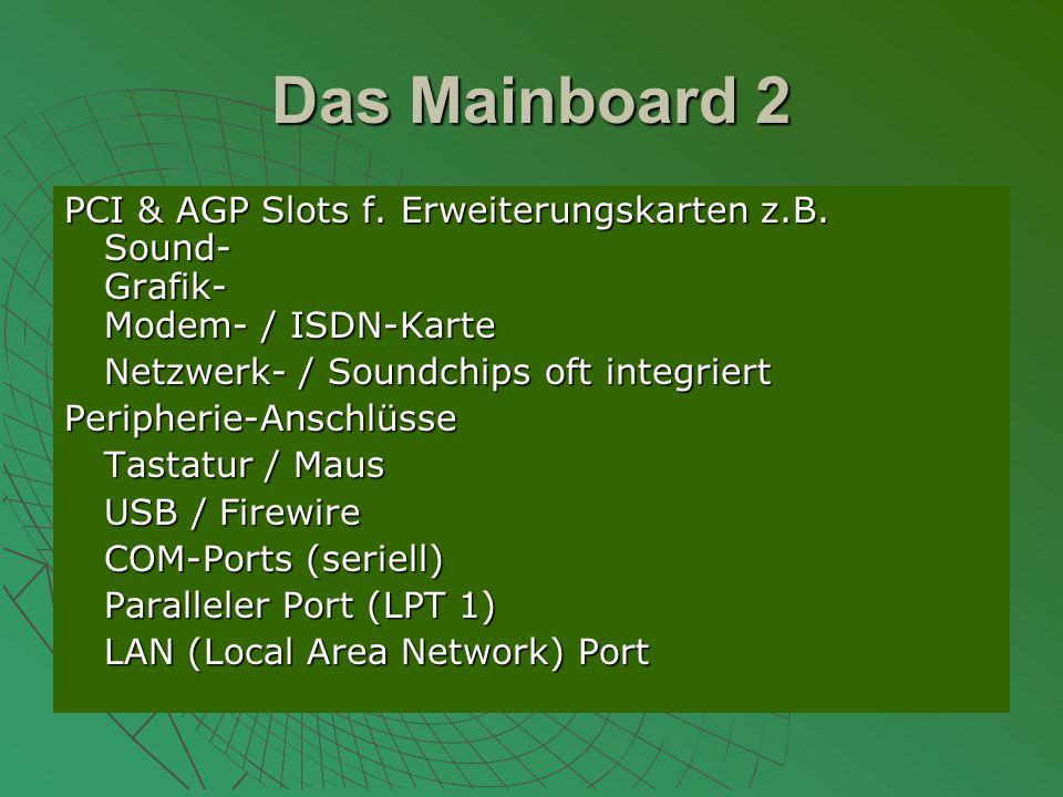 Das Mainboard 2 PCI & AGP Slots f.Erweiterungskarten z.B.