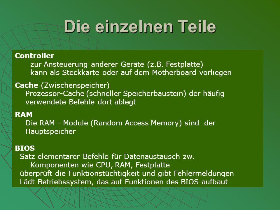Die einzelnen Teile Controller zur Ansteuerung anderer Geräte (z.B.