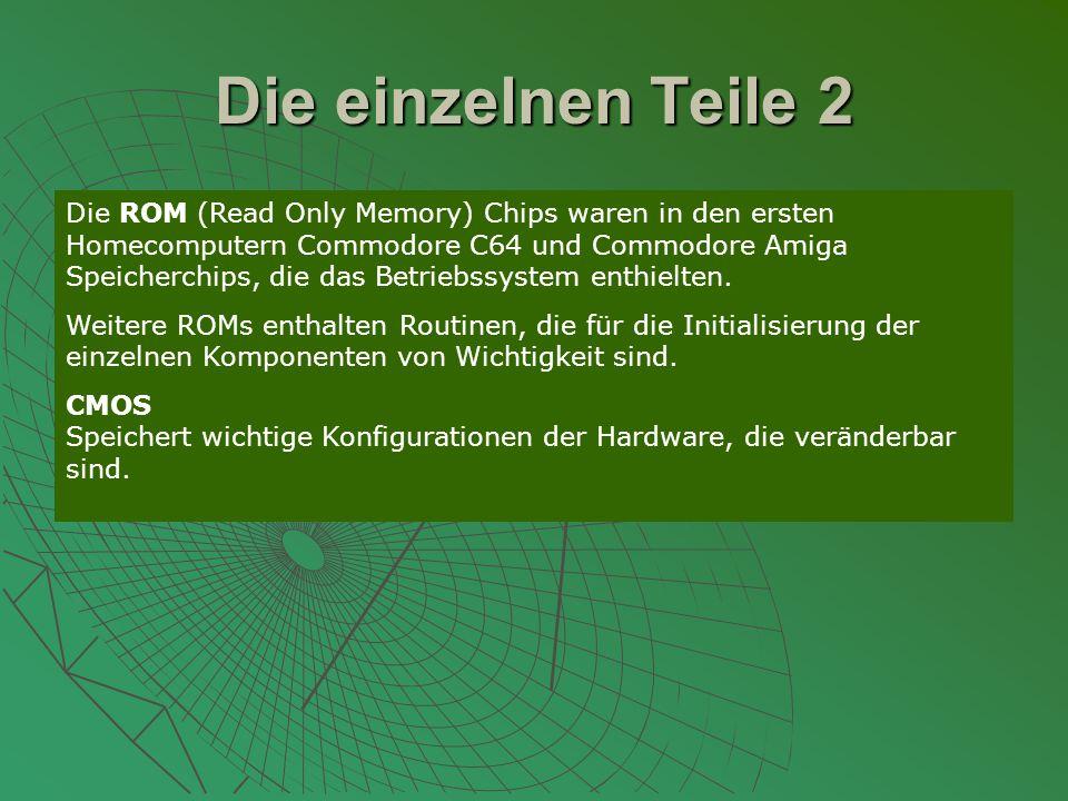 Die einzelnen Teile 2 Die ROM (Read Only Memory) Chips waren in den ersten Homecomputern Commodore C64 und Commodore Amiga Speicherchips, die das Betriebssystem enthielten.