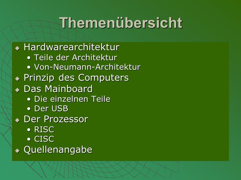 Themenübersicht  Hardwarearchitektur Teile der ArchitekturTeile der Architektur Von-Neumann-ArchitekturVon-Neumann-Architektur  Prinzip des Computers  Das Mainboard Die einzelnen TeileDie einzelnen Teile Der USBDer USB  Der Prozessor RISCRISC CISCCISC  Quellenangabe