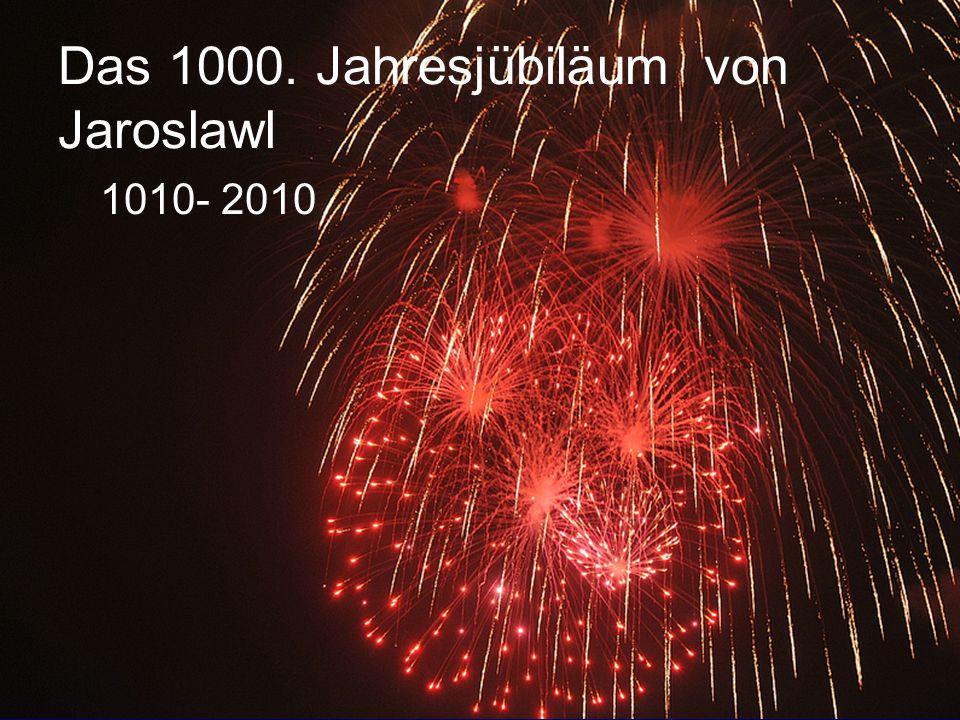 Visitenkarte von Jaroslawl Name: Jaroslawl Geburtsjahr : 1010 Adresse : 282 Km nordöstlich von Moskau Administrativ: Gebietshauptstadt Fläche: 205,37 Quadratkilometer Bevölkerungszahl : 606,9 Tausend Menschen Repräsentative Persönlichkeiten: А.