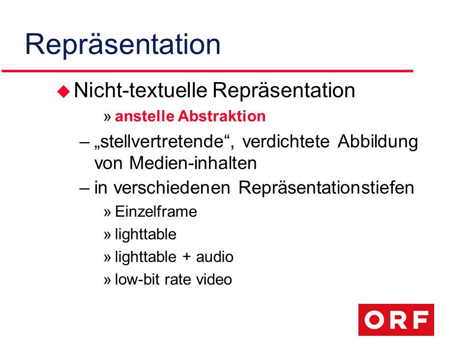 """Repräsentation u Nicht-textuelle Repräsentation »anstelle Abstraktion –""""stellvertretende , verdichtete Abbildung von Medien-inhalten –in verschiedenen Repräsentationstiefen »Einzelframe »lighttable »lighttable + audio »low-bit rate video"""