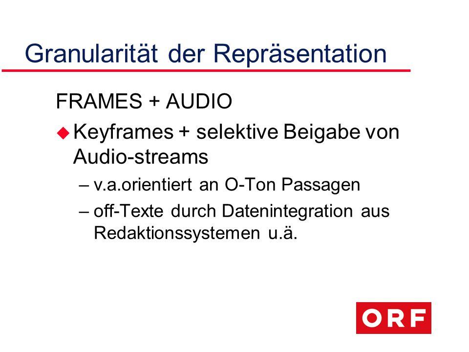 Granularität der Repräsentation FRAMES + AUDIO u Keyframes + selektive Beigabe von Audio-streams –v.a.orientiert an O-Ton Passagen –off-Texte durch Datenintegration aus Redaktionssystemen u.ä.