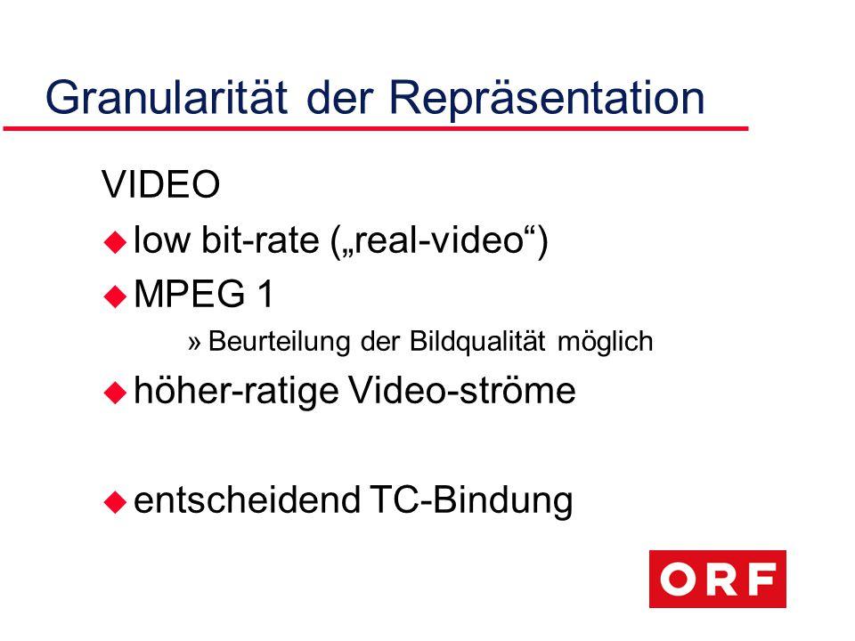"""Granularität der Repräsentation VIDEO u low bit-rate (""""real-video ) u MPEG 1 »Beurteilung der Bildqualität möglich u höher-ratige Video-ströme u entscheidend TC-Bindung"""