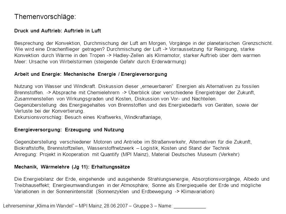 """Lehrerseminar """"Klima im Wandel – MPI Mainz, 28.06.2007 – Gruppe 3 – Name: ____________ Themenbewertung und -auswahl: Bewerten Sie (jedes Gruppenmitglied einzeln) die in den Themenvorschlägen angeführten Beispiele nach ihrer Priorität für eine mögliche Anwendung in Ihrem Unterricht."""
