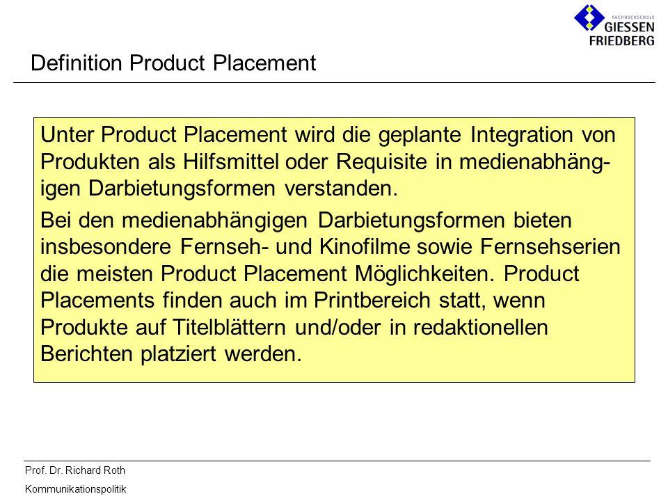 Prof. Dr. Richard Roth Kommunikationspolitik Definition Product Placement Unter Product Placement wird die geplante Integration von Produkten als Hilf