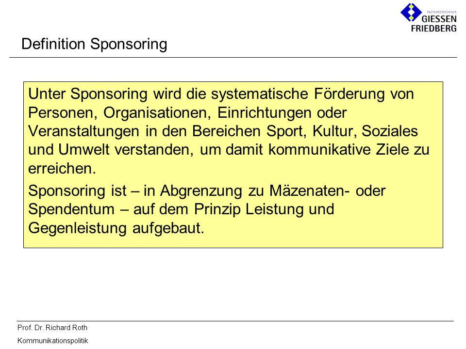 Prof. Dr. Richard Roth Kommunikationspolitik Definition Sponsoring Unter Sponsoring wird die systematische Förderung von Personen, Organisationen, Ein