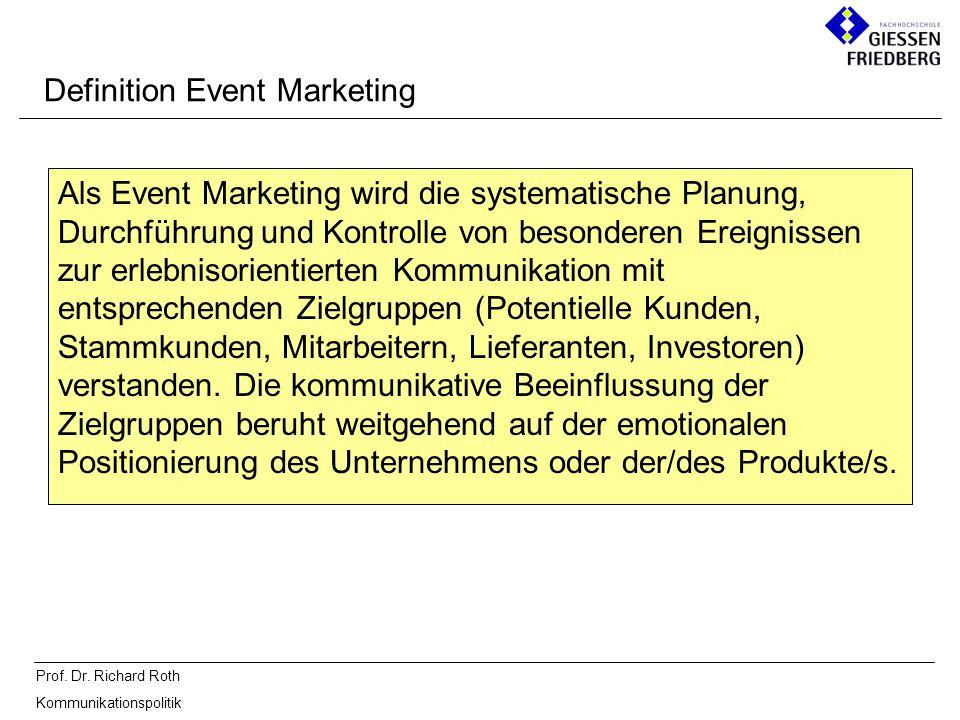 Prof. Dr. Richard Roth Kommunikationspolitik Definition Event Marketing Als Event Marketing wird die systematische Planung, Durchführung und Kontrolle