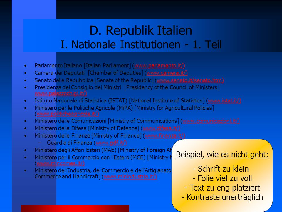 D.Republik Italien I. Nationale Institutionen - 1.