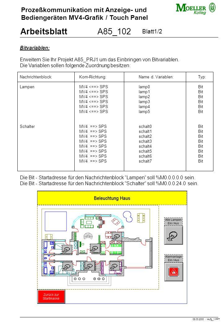 Prozeßkommunikation mit Anzeige- und Bediengeräten MV4-Grafik / Touch Panel ArbeitsblattA85_102 Bitvariablen: Erweitern Sie Ihr Projekt A85_PRJ1 um das Einbringen von Bitvariablen.