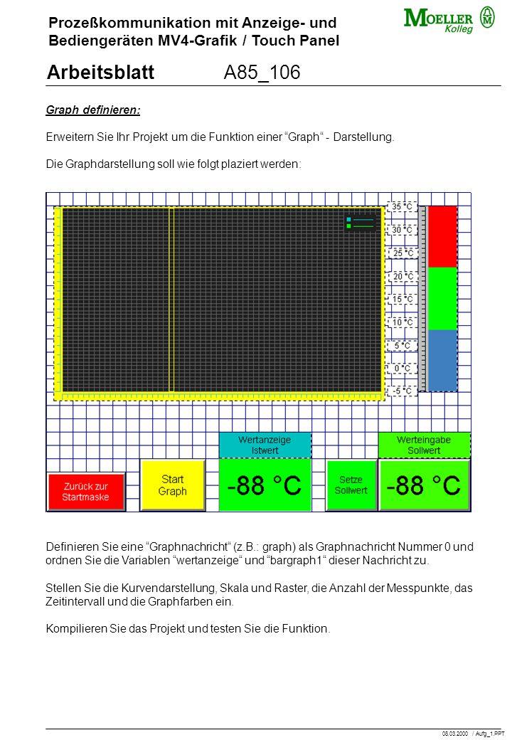 Prozeßkommunikation mit Anzeige- und Bediengeräten MV4-Grafik / Touch Panel ArbeitsblattA85_106 Graph definieren: Erweitern Sie Ihr Projekt um die Funktion einer Graph - Darstellung.