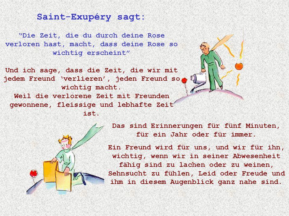 Saint-Exupéry sagt: Die Zeit, die du durch deine Rose verloren hast, macht, dass deine Rose so wichtig erscheint Und ich sage, dass die Zeit, die wir mit jedem Freund 'verlieren', jeden Freund so wichtig macht.
